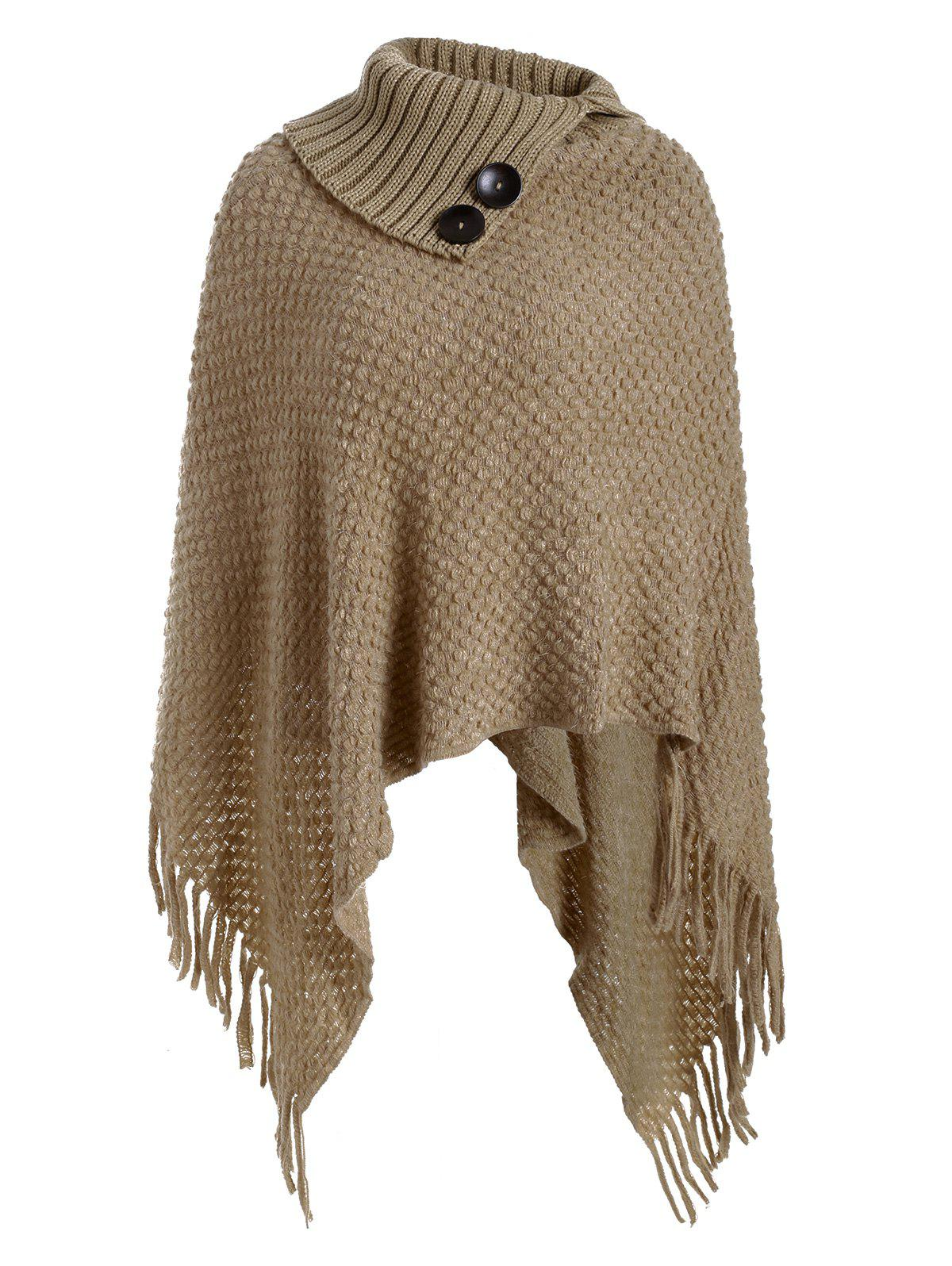 Best Mock Button Fringed Solid Cape Sweater