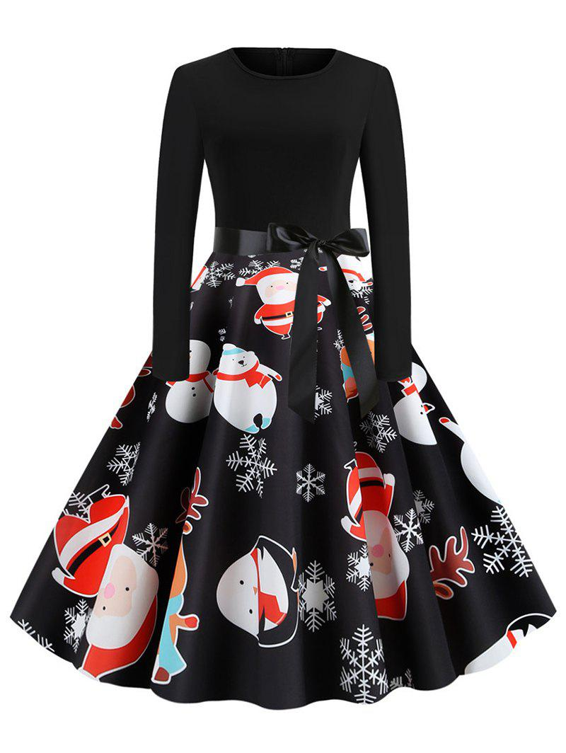 Affordable Santa Claus Reindeer Belted Christmas Long Sleeves Dress