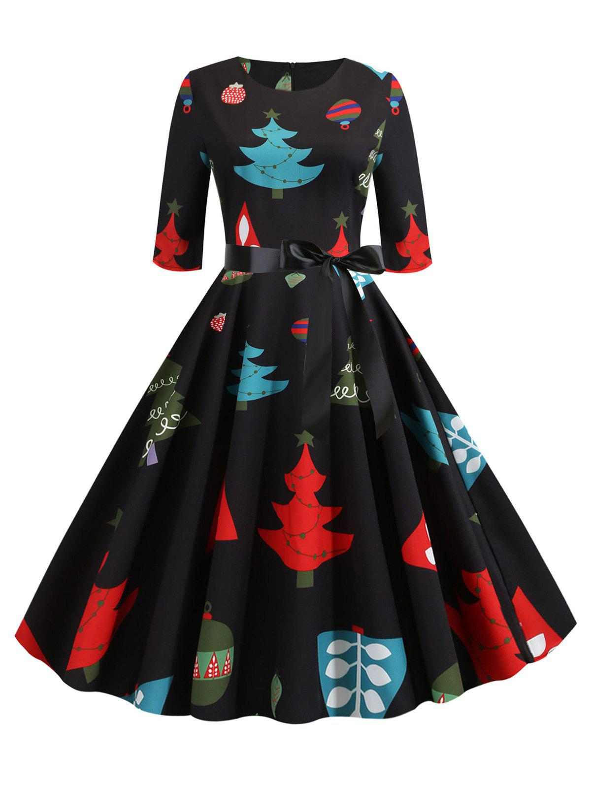 Latest Christmas Tree Print Belted Party Dress