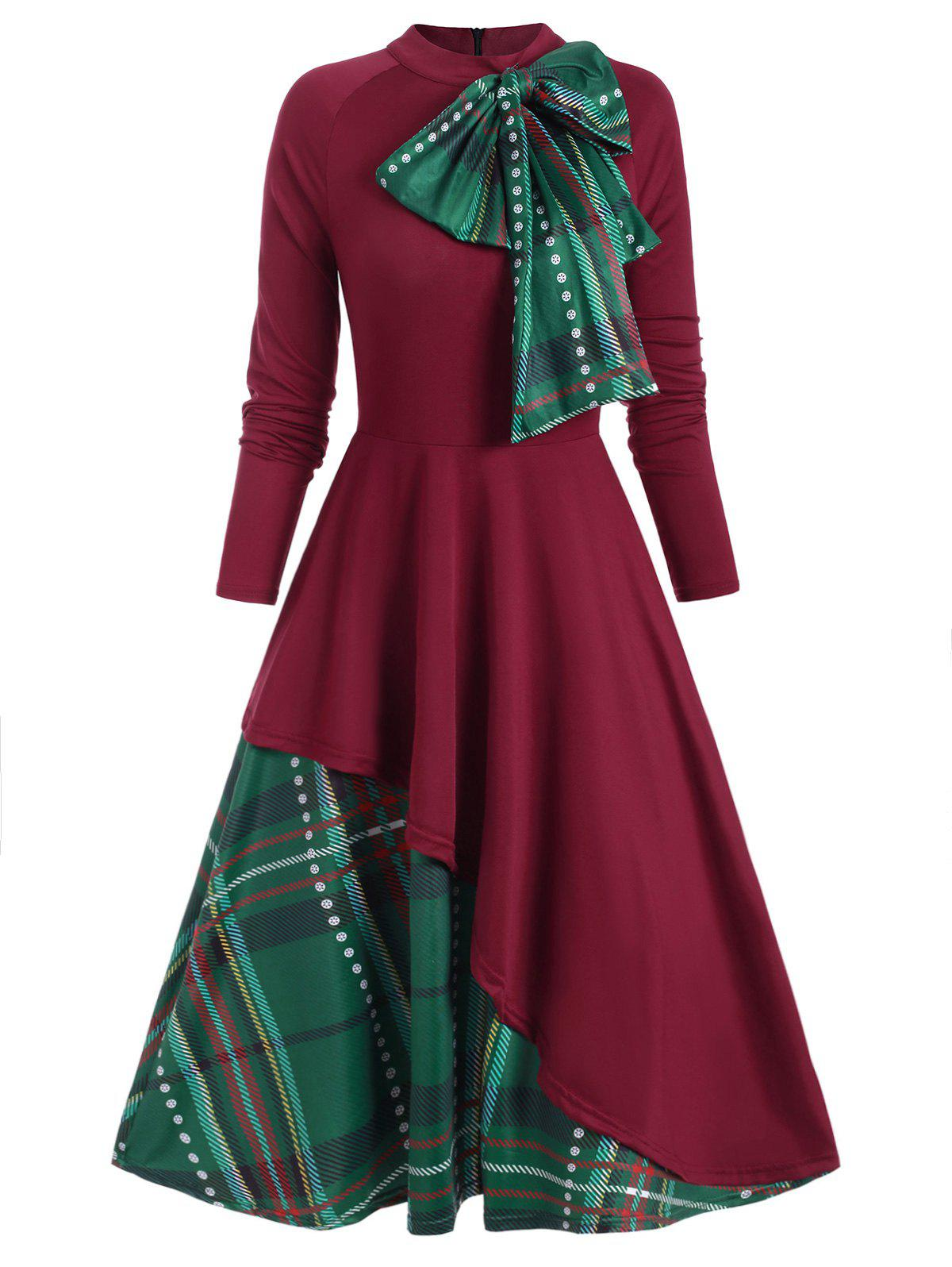 Fancy Plaid Contrast Bowknot Flared Overlay Dress
