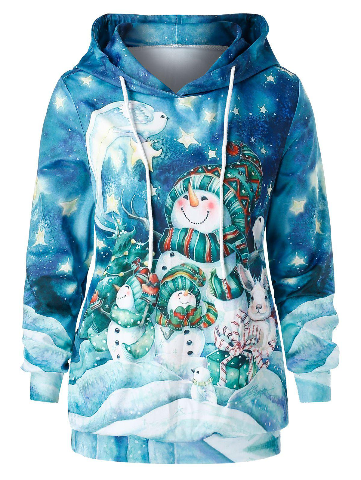 Outfit Plus Size Snowman Print Christmas Tunic Hoodie
