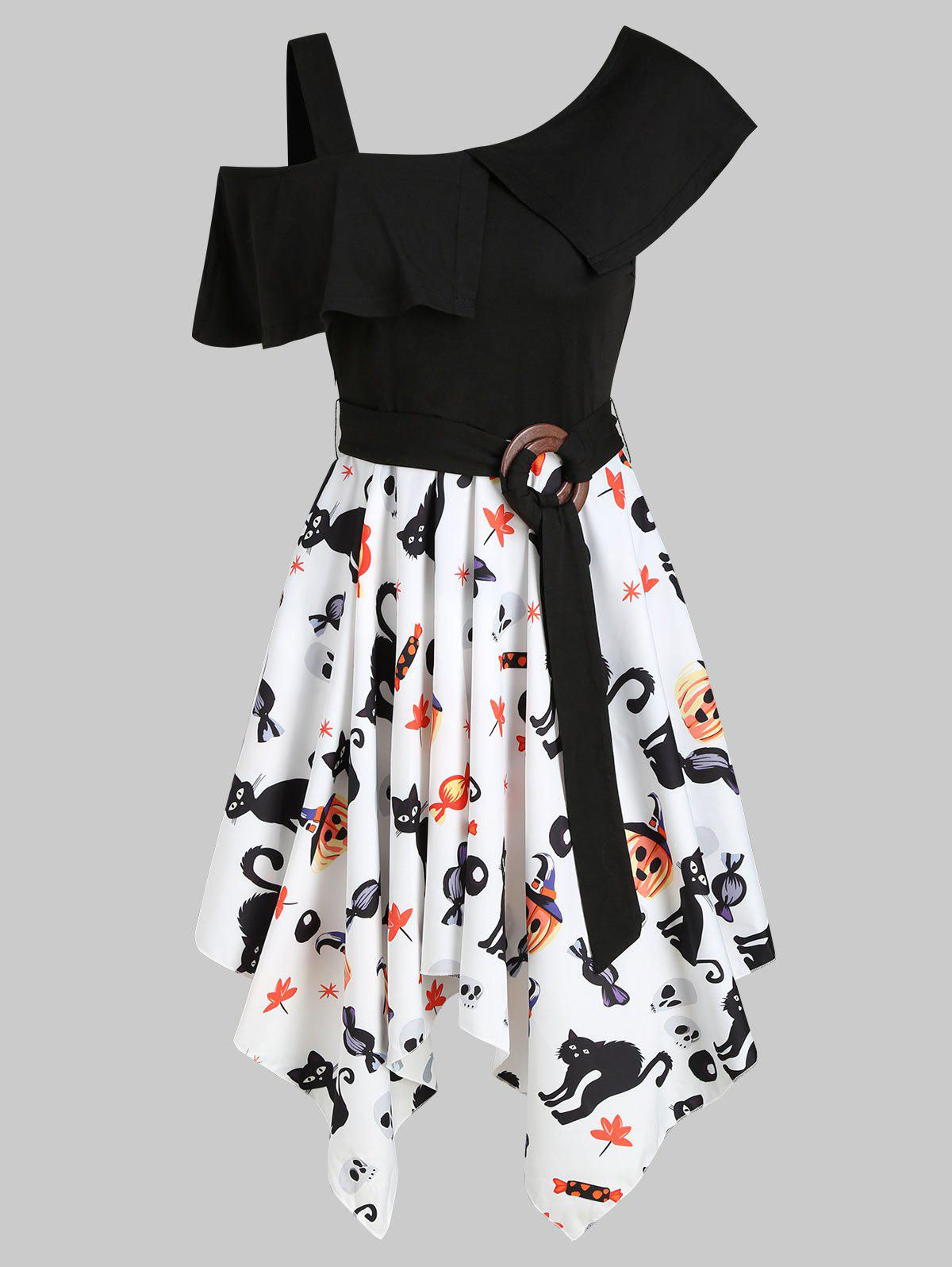 Outfits Halloween Pumpkin Skull Skew Neck Asymmetrical Dress