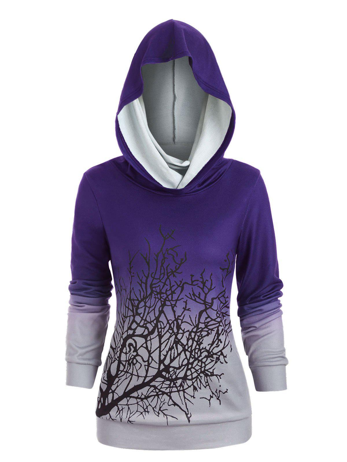 Sweat-shirt d'Halloween Arbre Imprimé à Col Convertible Pourpre  L