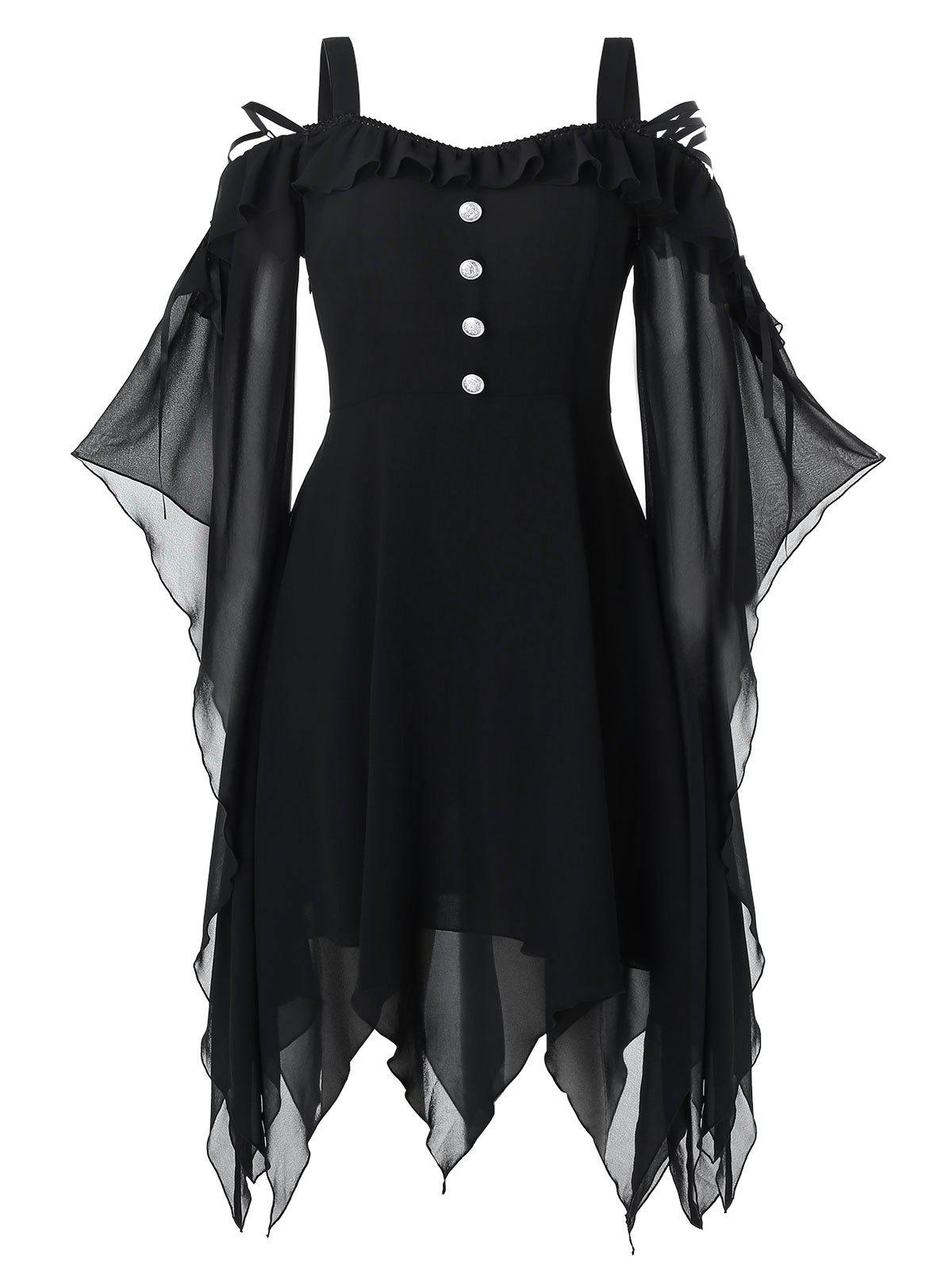 Chic Plus Size Halloween Butterfly Sleeve Lace Up Handkerchief Gothic Dress