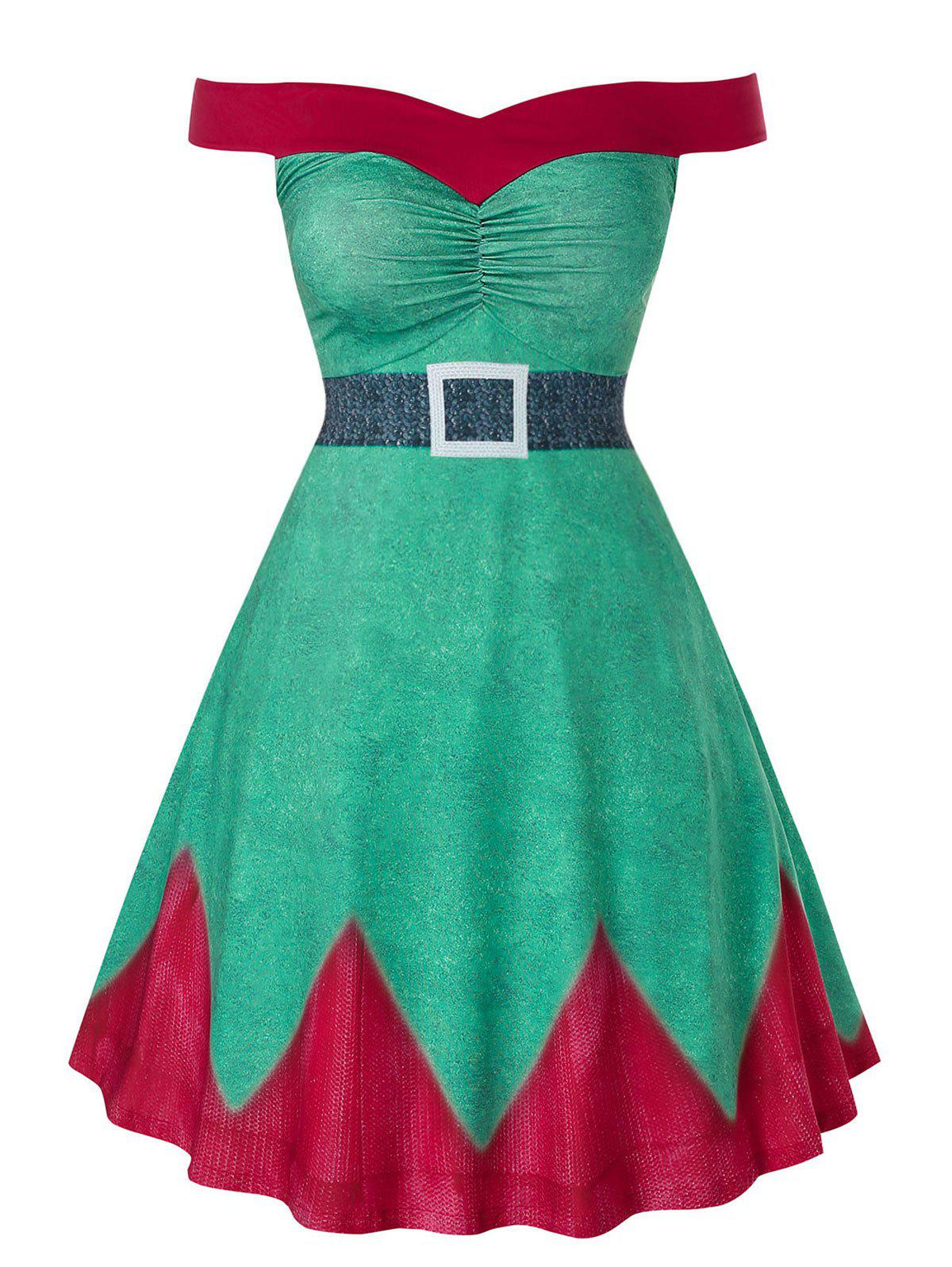 Fashion Plus Size Fit And Flare High Waist Christmas Mini Dress