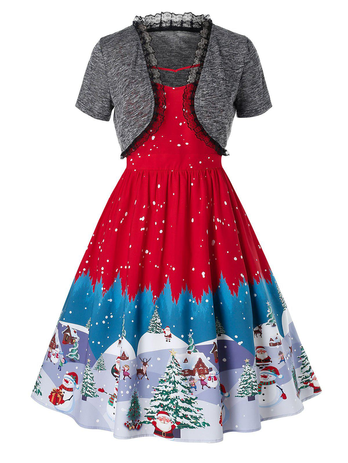 Buy Plus Size Christmas Vintage Snowman Tree Print Party Dress