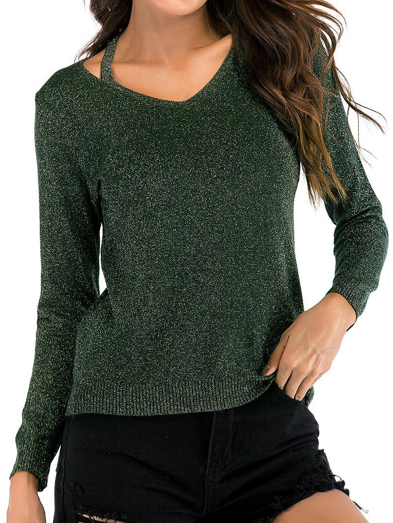 Cheap V Neck Sparkly Long Sleeves Knitwear