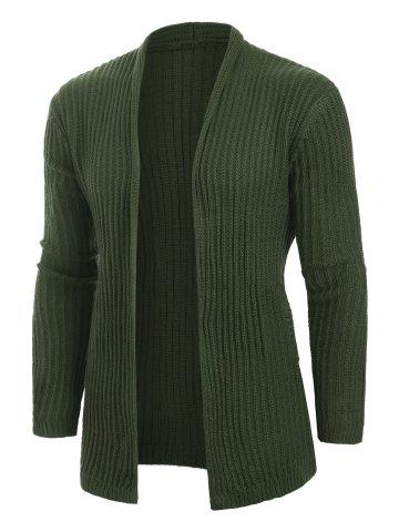 Solid Color Casual Pocket Cardigan - ARMY GREEN - M