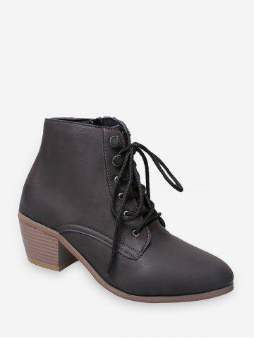 Pointed Toe Stacked Block Heel Ankle Boots