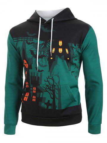 Halloween Night Castle Bat Print Drawstring Hoodie - DARK TURQUOISE - S