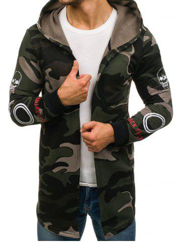Skull Graphic Camouflage Open Front Longline Hoodie