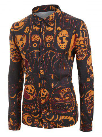 Plus Size Halloween Pumpkin and Skull Print Button Up Long Sleeve Shirt