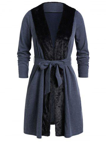 Plus Size Faux Fur Panel Open Knitted Belted Coat - BLUE GRAY - 5X