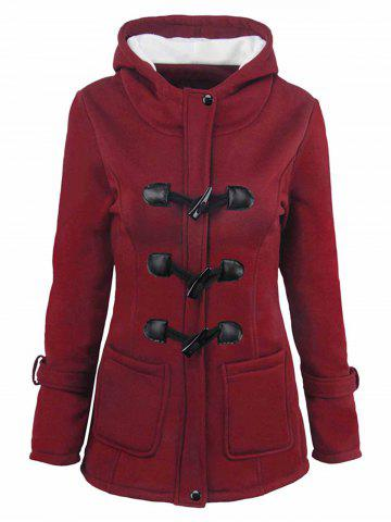 Plus Size Fleece Lining Hooded Horn Button Jacket - RED WINE - L