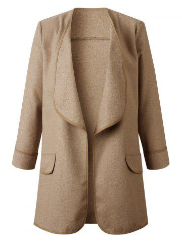 Cuffed Sleeves Faux Pockets Draped Solid Coat