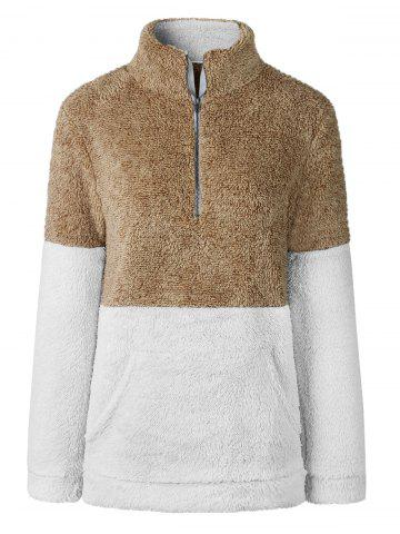 Kangaroo Pocket Half Zip Fluffy Sweatshirt - KHAKI - XL
