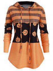 Drawstring Curved Hem Pumpkin Halloween Plus Size Hoodie -
