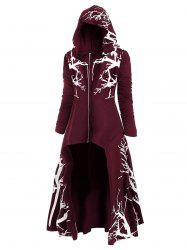 Plus Size Halloween Hooded High Low Tree Print Coat -
