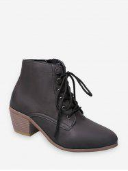 Pointed Toe Stacked Block Heel Ankle Boots -