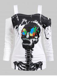 Halloween Plus Size Splatter Paint Skeleton Print T Shirt -