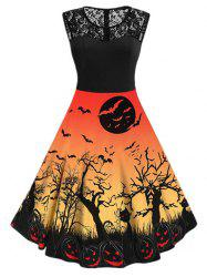 Halloween Pumpkin Cat Print Sleeveless Dress -