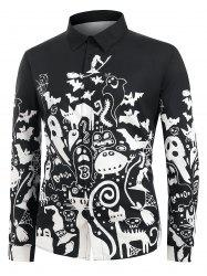 Plus Size Halloween Cartoon Print Button Up Long Sleeve Shirt -