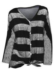 Striped V Neck Buttoned Knotted Top -