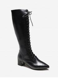 Zipper Back Knee High Pointed Toe Boots -