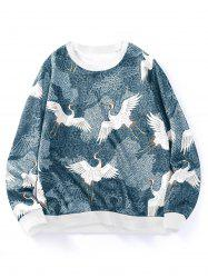 Flying Crane Floral Print Crew Neck Sweatshirt -