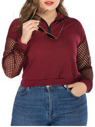 Plus Size Half Zip Fishnet Panel Sweatshirt -