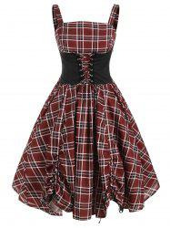 Lace Up Plaid Ruched Tied A Line Dress -