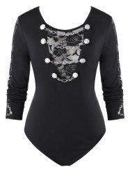 Plus Size Lace Panel Chains Fitted Bodysuit -
