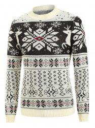 Christmas Rhombus Pattern Round Neck Sweater -