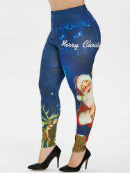 Plus Size Christmas Galaxy Santa Claus Print Leggings -
