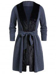 Plus Size Faux Fur Panel Open Knitted Belted Coat -