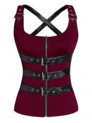 Zip Up Cut Out Buckle Strap Gothic Tank Top -