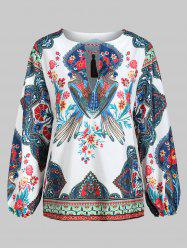 Parrot Floral Print Tassels Long Sleeves Top -