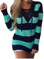 Lace Up V Neck Two Tone Sweater -
