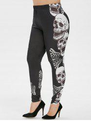 Plus Size Butterfly Skull Print Gothic Halloween Leggings -