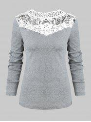 Lace Panel Long Sleeves Casual Tee -