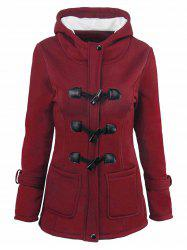 Plus Size Fleece Lining Hooded Horn Button Jacket -