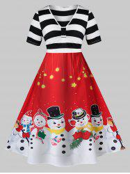 Plus Size A Line Christmas V Neck Snowman Print Dress -