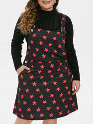 Plus Size Stars Print Mini Pinafore Dress -