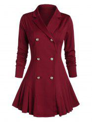 Lapel Double Breasted Pleated Skirted Coat -