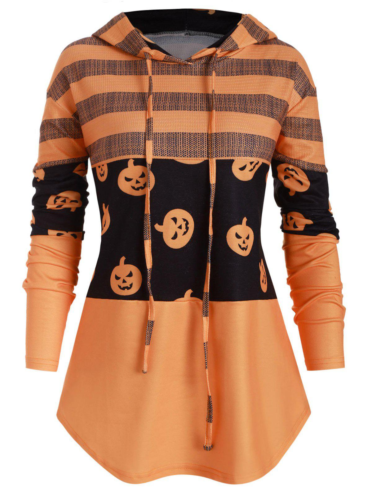 Unique Drawstring Curved Hem Pumpkin Halloween Plus Size Hoodie