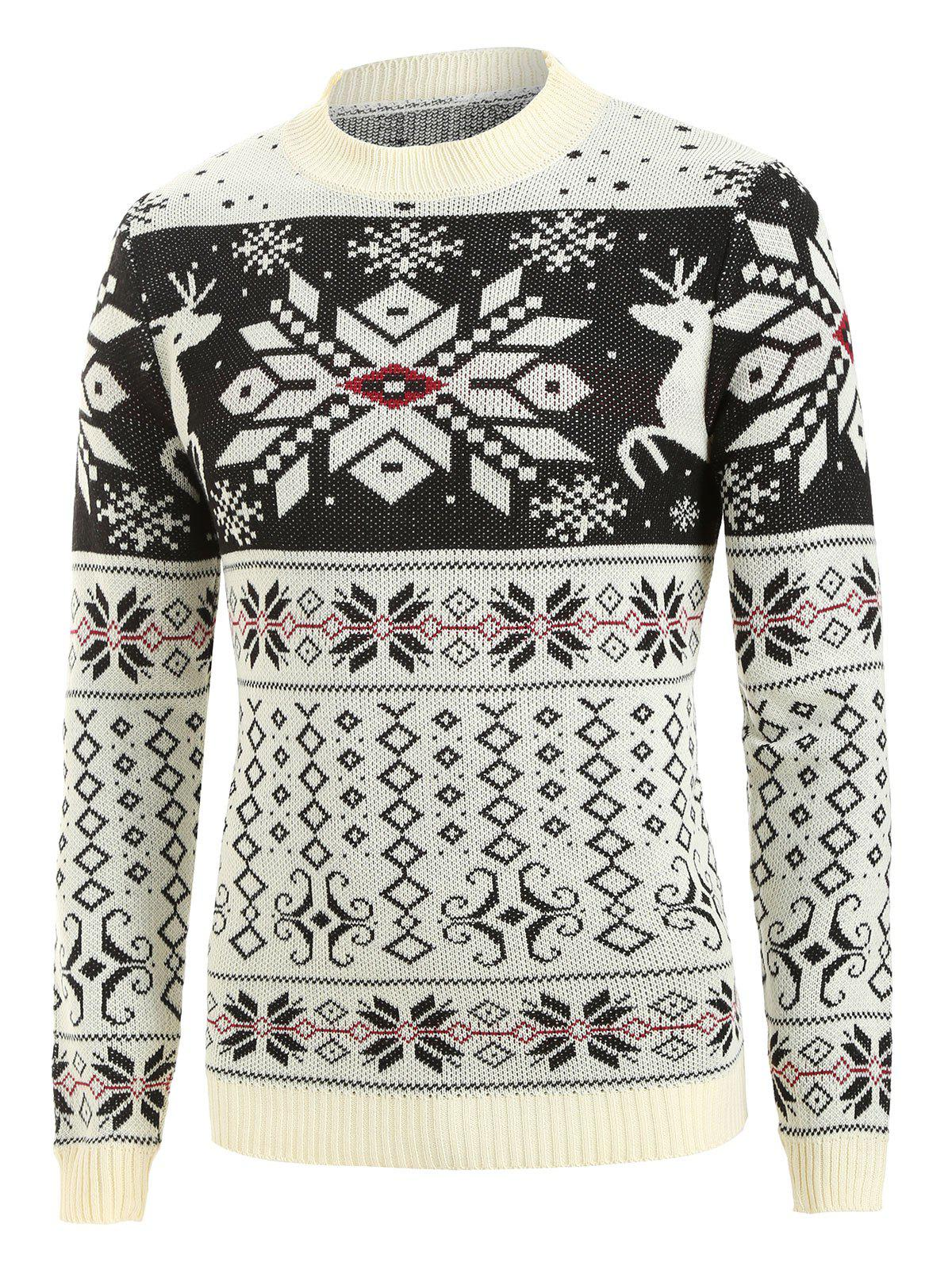 Sale Christmas Rhombus Pattern Round Neck Sweater
