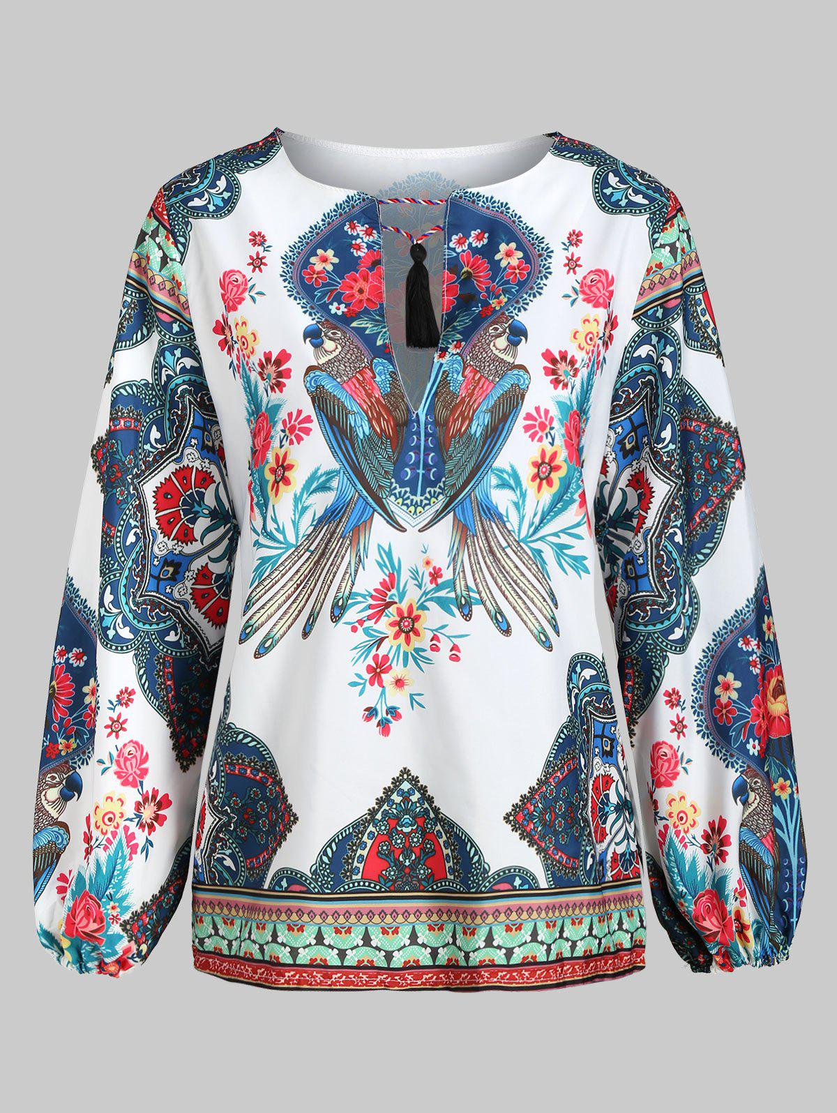 Cheap Parrot Floral Print Tassels Long Sleeves Top