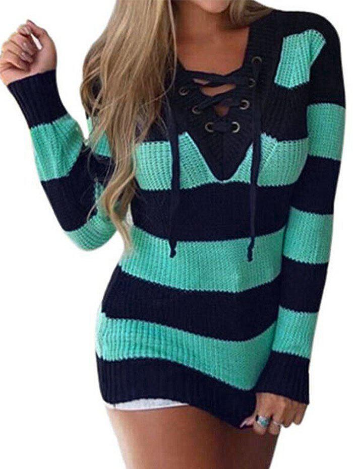Fancy Lace Up V Neck Two Tone Sweater