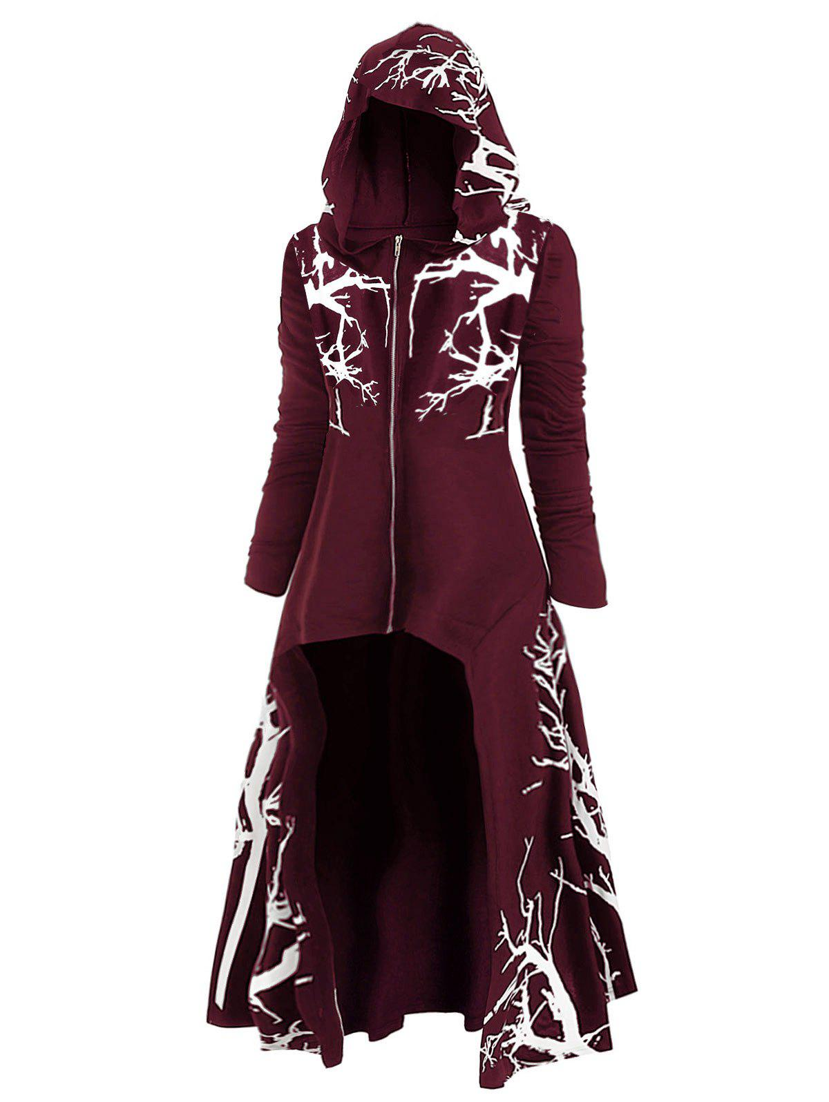 Shops Plus Size Halloween Hooded High Low Tree Print Coat