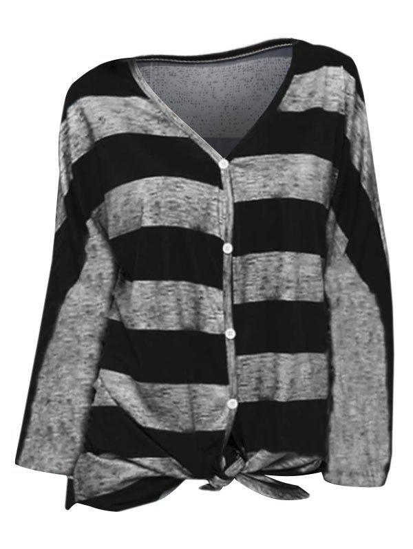 Chic Striped V Neck Buttoned Knotted Top